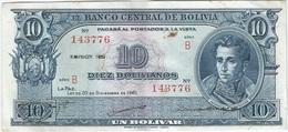 Bolivia 10 Bolivianos 20-12-1945 (1952) Pick 139.b Ref 1694 - Bolivia