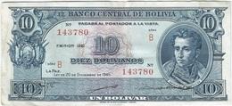 Bolivia 10 Bolivianos 20-12-1945 (1952) Pick 139.b Ref 1696 - Bolivia