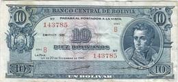 Bolivia 10 Bolivianos 20-12-1945 (1952) Pick 139.b Ref 1697 - Bolivia