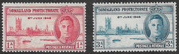 Somaliland Protectorate SG117-118 1946 Victory Set 2v Complete Mounted Mint [37/30896/2D] - Somaliland (Protectorate ...-1959)