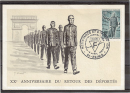 E11 - PO447 - 4 AVRIL 1965 REIMS Sur Carte ( écrite ) - XXe ANNIVERSAIRE DU RETOUR DES DEPORTES - Covers & Documents