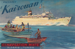 Autocollant Paquebot Kairouan De La Cie De Navigation Mixte - Algérie Tunisie ( Verso Gomme Arabique ) - Boats