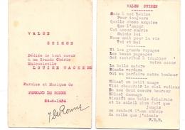 Muziek - Musique - Valse Suisse - Fernand De Ronne X Louise Wackens Gent 1934 - Musique & Instruments