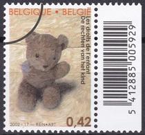 Specimen, Belgium Sc1930 Rights Of The Child, Doll, Bear - Dolls