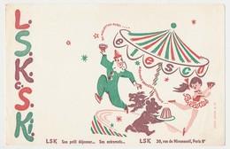 Buvard  21 X 13.5  L S K Entremets Petit Déjeuner  Manège Clown Danseuse Ours Chien - Food