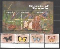C011 UGANDA SIERRA LEONE INSECTS BUTTERFLIES 1SET+1KB MNH - Schmetterlinge