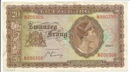 H279- Billet De BANQUE De 20 Francs - 1943 = Imprimé Aux Etats Unis - Grande Duchesse Du Luxembourg - - 1940-1944 Occupation Allemande