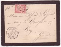 Lettre Non Affranchie Boîte Rurale A + Cachet LATRESNE GIRONDE 1901 > Créon, Taxe 30c Banderole (Duval) TB - Frankrijk