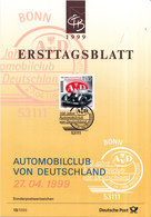 West-Duitsland - Ersttagsblatt - 13/1999 - 100 Jahre Automobilclub Von Deutschland (AvD) - Michel 2043 - [7] West-Duitsland