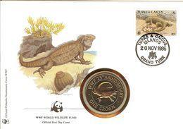 WWF NUMISBRIEF, Leguan / COIN COVER, TURKS & CAICOS, Iguana  /  ENVELOPPE NUMISMATIQUE, Iguane  1986 - W.W.F.