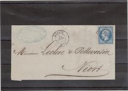 CP12- N° 14 NAPOLEON Sur Lettre De MARANS PC 1860 Du 2 JUIL 62 Pour Niort. - 1853-1860 Napoléon III