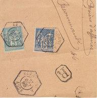Fragment Papiers D'affaires Recommandés 20c Sage O. RAU Narbonne A Aude 1898 - Postmark Collection (Covers)