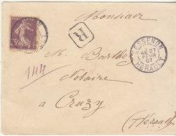 ESC Recommandée 35c Semeuse O. Cad Cessenon Hérault 1907 - Marcofilie (Brieven)