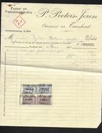 """BELGIQUE 1924 FACTURE ET RECU """" P.PEETERS-JOREN/TURNHOUT"""" ARTICLES EN PAPIER 2 SCANS - Belgique"""