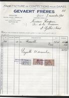 """BELGIQUE 1924 FACTURE ET CARTE-RECEPISSE/ RECU """" GEVAERT-FRERES -GAND"""" CONFECTIONS POUR DAMES 3 SCANS - Textile & Vestimentaire"""