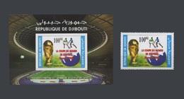 DJIBOUTI 2006 Michel Mi 807A SHEET + STAMP SOCCER WORLD CUP COUPE DU MONDE DE FOOTBALL GERMANY ALLEMAGNE - RARE - MNH ** - Djibouti (1977-...)