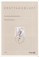West-Duitsland - Ersttagsblatt - 44/1997 - 200. Geburtstag Von Heinrich Heine - Michel 1962 - Schrijvers