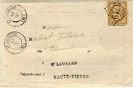 1866- Avis De Chargement De St LEONARD ( Haute Vienne)cad T 18  Affr. N°21 Oblit. G C 3719 - Courrier Local - Storia Postale