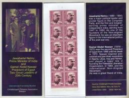 India  2009  Great Leaders  Nasser  &  Nehru   Stamps Booklet    # 11987  D  Inde Indien - Neufs