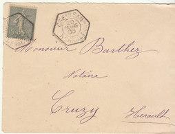 ESC 15c Semeuse O. Hexagonal Creissan Hérault 1906 - Marcofilie (Brieven)
