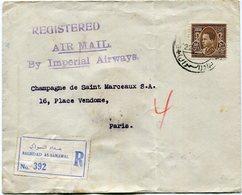 """IRAQ LETTRE RECOMMANDEE PAR AVION """"BY IMPERIAL AIRWAYS"""" DEPART BAGHDAD 22 AUG 39 POUR LA FRANCE - Iraq"""