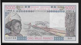 Côte D'Ivoire -  5000 Francs - 1985 - Pick N°108An - SPL - Côte D'Ivoire