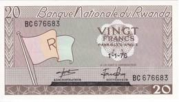 BILLETE DE RWANDA DE 20 FRANCS DEL AÑO 1976  (BANKNOTE) SIN CIRCULAR-UNCIRCULATED - Ruanda