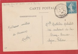 Rhône - Facteur Boitier - Brullioles  Sur Type Semeuse  30c 1926 Sur Carte Postale - 1921-1960: Periodo Moderno