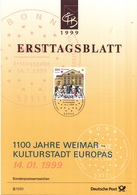 West-Duitsland - Ersttagsblatt - 2/1999 - 1100 Jahre Weimar - Kulturhauptstadt Europas - Michel 2028 - [7] West-Duitsland