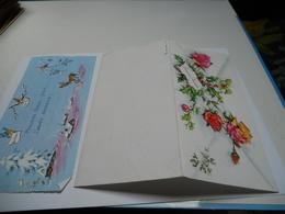 BONNE ANNEE CARTE COULEUR CARTE DOUBLE  N°T 62 ///  FLEURS ROSES ET HOUX - Nouvel An