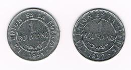 &   BOLIVIA  2 X 1 BOLIVANO  1991/97 - Bolivie