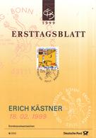 """West-Duitsland - Ersttagsblatt - 6/1999 - 100. Geburtstag Von Erich Kästner - """"Emil Und Die Detektive"""" - Michel 2035 - Schrijvers"""