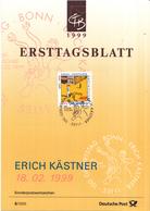 """West-Duitsland - Ersttagsblatt - 6/1999 - 100. Geburtstag Von Erich Kästner - """"Emil Und Die Detektive"""" - Michel 2035 - [7] West-Duitsland"""