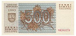 ЛИТВА 46 LITHUANIA 500 TALONAS 1993 Unc Unc - Lithuania