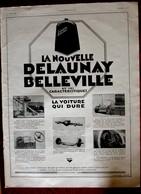 Publicité L'illustration 1926 - Automobile Ancienne - Delaunay Belleville - La Voiture Qui Dure - Werbung