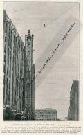1930 : DETROIT, Funambule, Norman J. Terry, Acrobatie Aérienne Dans Une Rue  Entre Le Wolverine Hôtel Et Le Fox Center - Documents Historiques