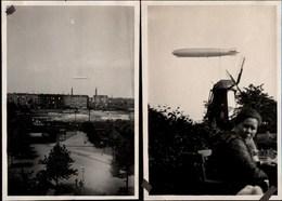 ! 4 Alte Fotos, 22.6.1930, Photos, Zeppelin über Hamburg Altona Bahrenfeld, Ottensen, Luftschiff, DIRIGEABLE, Windmühle - Dirigeables