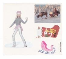 Planche De 4 Autocollants Poupée Barbie à En Laponie, Père Noël, Traineau - Barbie