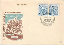 DDR BERLIN 1952 - V INTERNATIONAL CYCLING RACE FOR THE PEACE - WARSZAWA / BERLIN / PRAHA - FDC 5/5/1952 - Ciclismo