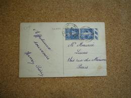 Carte Postale Affranchie Type Semeuse Oblitération Montceau Les Mines 1933 - Marcophilie (Lettres)