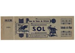 ANTIGUA ENTRADA OLD TICKET CORRIDA DE TOROS PLAZA DE ÉCIJA (SEVILLA) ESPAÑA SPAIN BULLFIGHTING TOREO TORERO AÑO 1944 VER - Tickets - Entradas