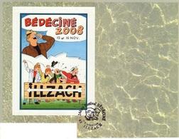 BEDECINE 2008 à ILLZACH Avec TIBET : Feuille De Support Du Timbre-poste Personnalisé Et Cachet - Stripsverhalen
