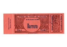 ANTIGUA ENTRADA OLD TICKET CORRIDA DE TOROS PLAZA DE ÉCIJA (SEVILLA) ESPAÑA SPAIN BULLFIGHTING TOREO TORERO AÑO 1958 VER - Tickets - Entradas