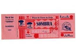 ANTIGUA ENTRADA OLD TICKET CORRIDA DE TOROS PLAZA DE ÉCIJA (SEVILLA) ESPAÑA SPAIN BULLFIGHTING TOREO TORERO AÑO 1936 VER - Tickets - Entradas