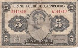 BILLETE DE LUXEMBURGO DE 5 FRANCS DEL AÑO 1944 (BANKNOTE) - Luxembourg