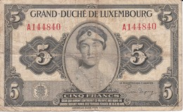 BILLETE DE LUXEMBURGO DE 5 FRANCS DEL AÑO 1944 (BANKNOTE) - Luxemburgo