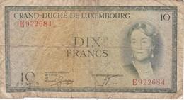 BILLETE DE LUXEMBURGO DE 10 FRANCS DEL AÑO 1954 (BANKNOTE) - Luxembourg