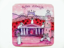 Magnet From Lithuania Morning In Vilnius Art  Painting 6x6cm - Tourism