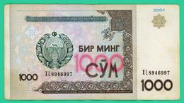 1000 Sum - Ouzbékistan - 2001 - N°. XL8946997 - TB+ - - Ouzbékistan