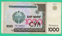 1000 Sum - Ouzbékistan - 2001 - N°. VK7509513 - TB+ - - Ouzbékistan